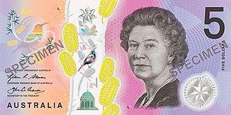 Australian five-dollar note - Image: 2016 Australian five dollar note obverse