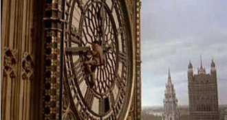 The Thirty Nine Steps (1978 film) - Hannay (Powell) hanging from Big Ben during the film's denouement. The scene was a departure from Buchan's novel, but was added because the Houses of Parliament represented the centre of British power in 1914.