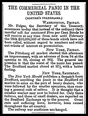 "Depression of 1882–85 - November 1882 news item from the London Guardian noting the expanding financial crisis in the United States, marked by a continued ""railway war."""