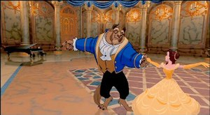 "Beauty and the Beast (1991 film) - A frame from the ""Beauty and the Beast"" ballroom dance sequence. The background is animated using computer generated imagery which, when the traditionally animated characters are composited against it using Pixar's CAPS system, gives the illusion of a dollying film camera."
