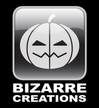 "A white jack-o'-lantern in a rounded, square, black, glass button with white ""Bizarre"" then ""Creations"" below, all on a black background."