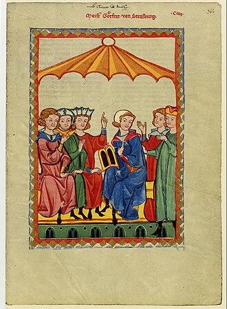 Gottfried von Strassburg - Portrait of Gottfried von Strassburg from the Codex Manesse (Folio 364r).