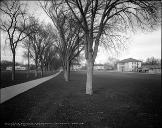 Colorado State University - Colorado Agricultural College Campus, 1920 with the Oval, Physics Building, and Guggenheim Hall showing.