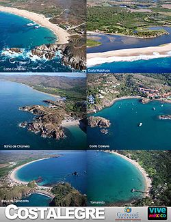From top, left to right: Cabo Corrientes; Costa Majahuas; Bahía de Chamela; Costa Careyes; Bahía de Tenacatita and Tamarindo Beach