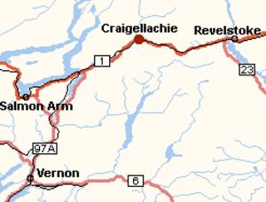 Craigellachie, British Columbia - Image: Craigellachie BC Canada Location