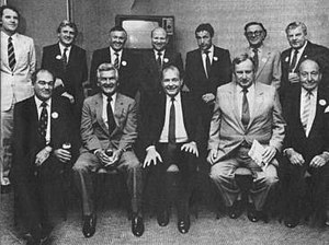 WA Inc -  A John Curtin Foundation gathering Left to right, rear: Denis Cullity, John Horgan, Alan Bond, Laurie Connell, Ric Stowe, James McCusker, Rod Evans; Front: Kevin Parry, prime minister Bob Hawke, state premier Brian Burke, John Roberts and former Perth lord mayor Ernest Lee-Steere