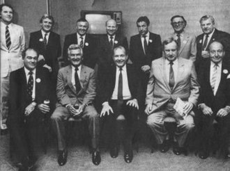 Early 1990s recession in Australia - A John Curtin Foundation gathering Left to right, rear: Denis Cullity, John Horgan, Alan Bond, Laurie Connell, Ric Stowe, James McCusker, Rod Evans; Front: Kevin Parry, prime minister Bob Hawke, state premier Brian Burke, John Roberts and former Perth lord mayor Ernest Lee-Steere.
