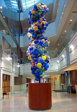 Indiana University School of Medicine - The DNA Tower by sculptor Dale Chihuly at the Morris Mills Atrium in the Van Nuys Medical Sciences Building