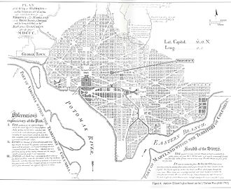 History of Washington, D.C. - A contemporary reprint of Samuel Hill's 1792 print of Ellicott's Plan of the City of Washington in the Territory of Columbia, published in Massachusetts Magazine, Boston, May 1792, showing street names, lot numbers, coordinates and legends.