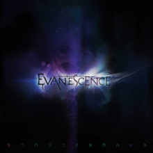 A cover with a black background and vapor passing over the band's name, with an iridescent-colored light shining behind it.