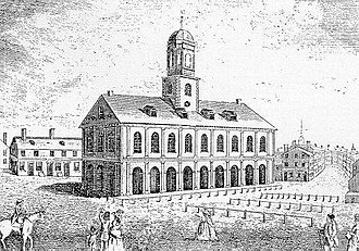 History of Boston - 1740 Faneuil Hall, sketch by John Smybert