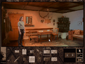 The Beast Within: A Gabriel Knight Mystery - Gabriel Knight standing in Huber home. Inventory is shown in the bottom.