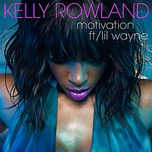 The Blue woman stands to the position hand and with a brown head. The Name of Performer is 'KELLY ROWLAND' and the name of single is 'motivation ft/ lil wayne'