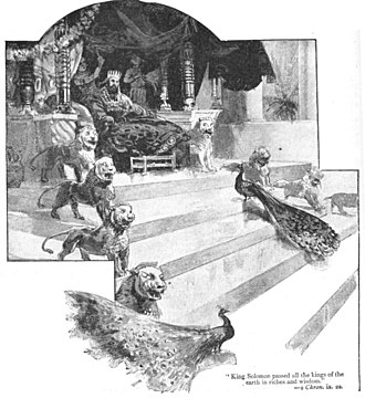 Throne - Fanciful depiction of Solomon on his throne