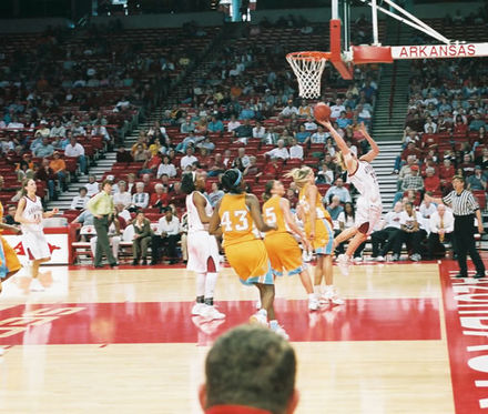Razorback Women during a basketball game. Ladybacks basketball.jpg