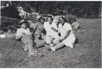 Ella Little-Collins - Malcolm Little (left), two unknown women, and Ella Little-Collins (right) in Franklin Park, Roxbury