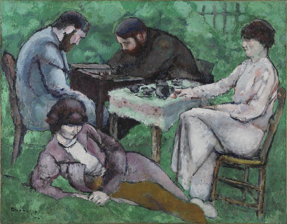 Marcel Duchamp, 1910, Joueur d'échecs (The Chess Game), oil on canvas, 114 x 146.5 cm, Philadelphia Museum of Art