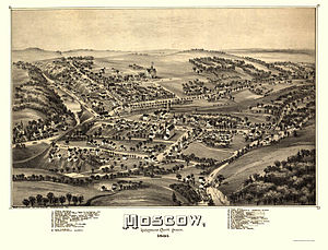 Moscow, Pennsylvania - Moscow, as depicted on an 1891 pictorial map
