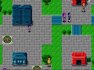 Phantasy Star II - Phantasy Star II's top-down style travel is shown with protagonists Rolf and Nei moving through a town