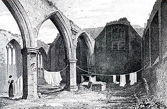 St. Audoen's Church, Dublin (Church of Ireland) - Drawing by George Petrie, showing the Portlester chapel in 1829, after having lost its roof.