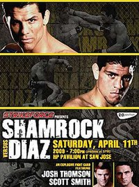 A poster or logo for Strikeforce: Shamrock vs. Diaz.