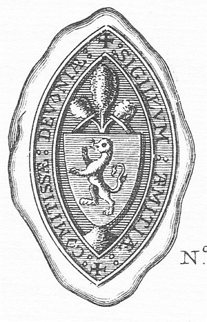 "Amice de Clare - Seal of Amice de Clare. The shield depicts the arms of her husband Baldwin de Redvers, ""a lion rampant"". The device above the shield is likely to be a heraldic device of de Clare, part of her paternal armourials. Legend: ""SIGILLUM AMITIAE COMITISSAE DEVONIAE"" (seal of amicia, Countess of Devon)"