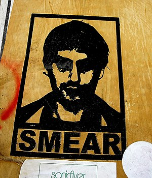 Wheatpaste - A poster adhered by wheat paste. By Smear in Los Angeles from 2005.