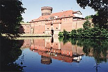 Recent photo of Spandau Fortress showing the water-filled moat and battlements