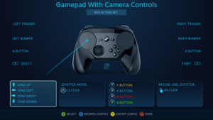 Steam Controller - A representative configuration page for the Steam Controller, demonstrating the array of settings that can be adjusted on a per-game basis.