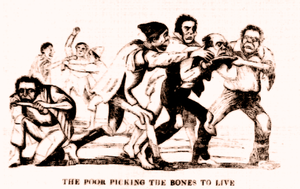 Andover workhouse scandal - A newspaper illustration from The Penny Satirist (6 September 1845), depicting the inmates of Andover workhouse fighting over bones to eat.