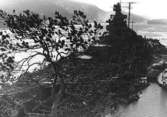 German battleship Tirpitz - Tirpitz camouflaged in the Fættenfjord