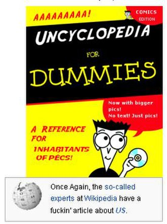 """Uncyclopedia - A grab from the """"About"""" page of Uncyclopedia highlighting its comical nature and satirical approach to Wikipedia with a link to this page."""