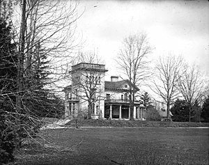 "Bela Hubbard - Bela Hubbard residence, ""Vinewood"", Alexander Jackson Davis, Architect. Built 1856. Demolished 1933. Detroit, Michigan"