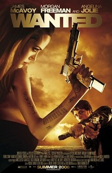 Movie poster with a woman (Angelina Jolie) on the left holding a large handgun as she faces right. Her left arm is covered in tattoos. A man (James McAvoy) on the right is facing forward and is holding two handguns, one hand held over the other. The top of the image includes the film's title, while the bottom shows an overhead view of a city's lights as well as the release date.