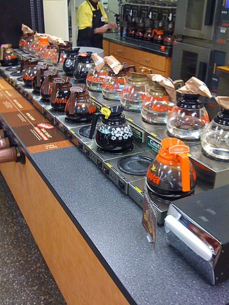 Wawa (company) - A Wawa coffee bar counter with different flavors. A staple of Wawa stores for years, the glass carafes were replaced with coffee dispensers around 2010.