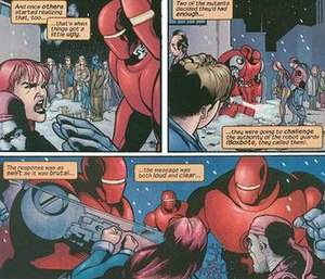 Diamond Lil (comics) - Diamond Lil and Random trying to incite a revolt against Weapon X.