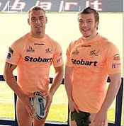 Paddy Flynn & Chris Gerrard modelling the Vikings special edition charity kit.