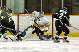 Allan Cup Hockey - Petrolia Squires attack Windsor St. Clair Saints net in 2007-08 Season