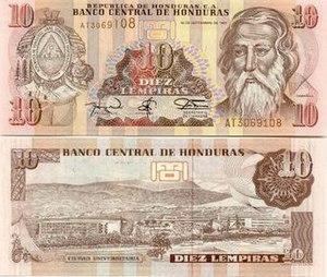 Honduran lempira - Image: 10Lempira