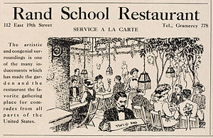 Rand School of Social Science - Advertisement for the Rand School Restaurant from the debut issue of The Masses magazine, January 1911.