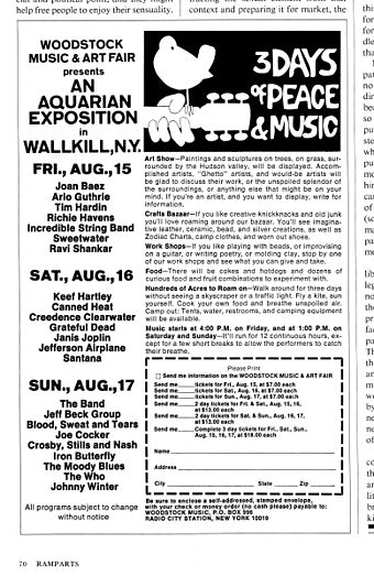 "Magazine advertisement promoting the Woodstock Music & Art Fair's ""Aquarian Exposition,"" to be held in Wallkill, NY. 6908-woodstock-ad.jpg"