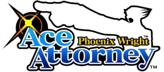 Ace Attorney - The series logo, which uses the words Ace Attorney in large fonts accompanied by the name and silhouette of the protagonist