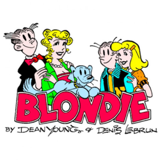 Blondie (comic strip) - Blondie logo, featuring Dagwood, Blondie, Daisy, son Alexander, and daughter Cookie.