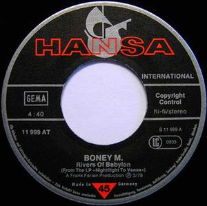"Hansa Records - The original 7 inch label of one of the best selling Hansa Records singles, Boney M.'s ""Rivers of Babylon""."