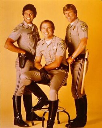 "CHiPs - The cast of CHiPs (from left: Erik Estrada as ""Ponch"", Robert Pine as Getraer, and Larry Wilcox as Jon)"