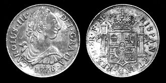 "Spanish dollar - Obverse CAROLUS III DEI GRATIA 1776 ""Charles III by the Grace of God, 1776""  Right profile of Charles III in toga with laurel wreath."