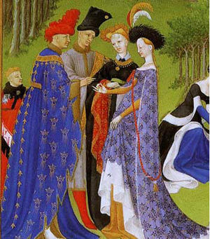 Bonne of Armagnac - Marriage of Charles and Bonne at the Chateau de Dourdan – from the Très Riches Heures du duc de Berry
