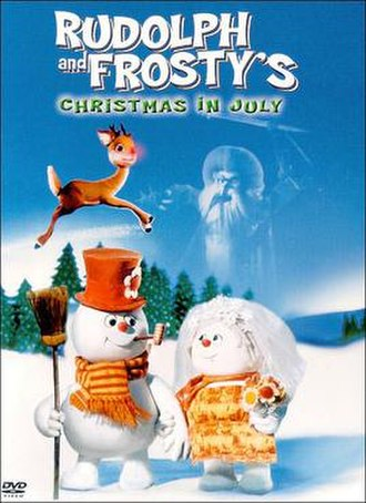 Rudolph and Frosty's Christmas in July - DVD cover depicting Rudolph, Winterbolt, Frosty and Crystal