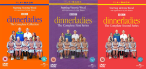 "Three adjacent DVD covers: orange, purple and red respectively, each bearing the word ""dinnerladies"" in a lowercase thin serif font."