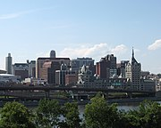 Downtown Albany viewed from across the Hudson River